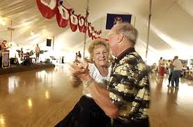 Couple dancing the polka